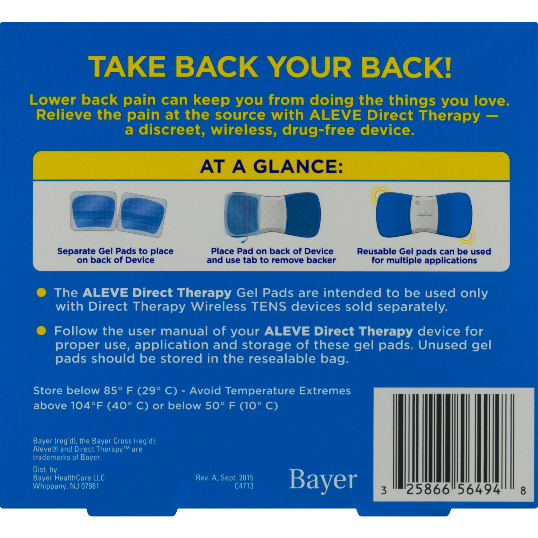 Aleve Direct Therapy Relief From Lower Back Pain Refill Gel Pads - 2 CT -  Walmart.com