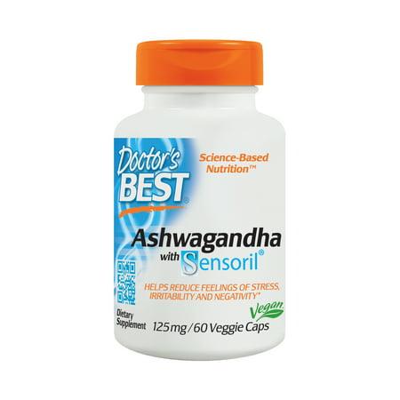 Doctor's Best Ashwagandha with Sensoril, Non-GMO, Gluten Free, 125 mg, 60 Veggie (The Best Ashwagandha Supplement)
