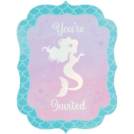 Creative Converting Mermaid Shine Invitation Postcard, 8 ct
