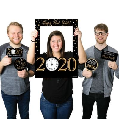 New Year's Eve - Gold - 2019 New Years Eve Selfie Photo Booth Picture Frame & Props - Printed on Sturdy (New Year's Eve Themed Costume Party Ideas)