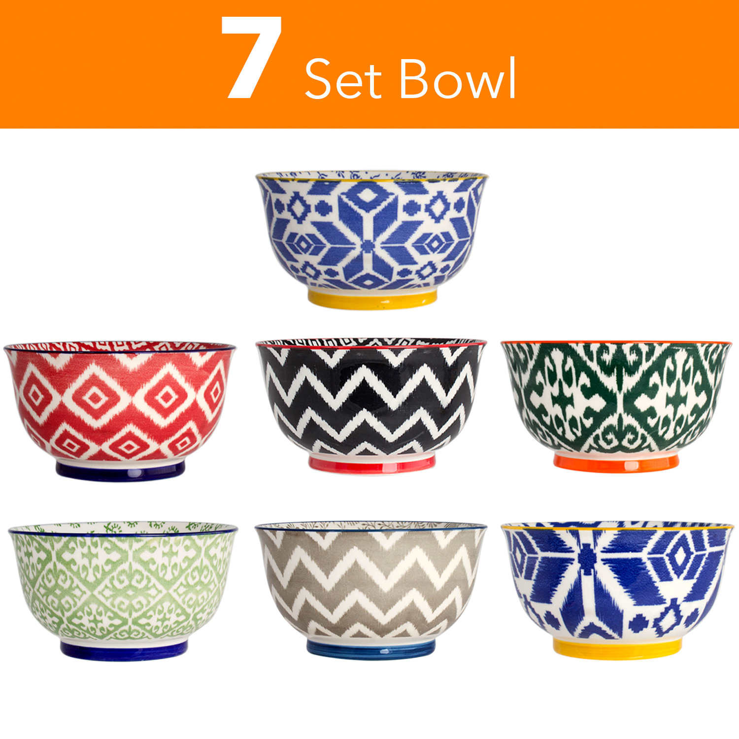 High Quality Large 6 Inch Ceramic Cereal Soup Pasta Bowl Set 7 Pcs. Ceramic Bowls by