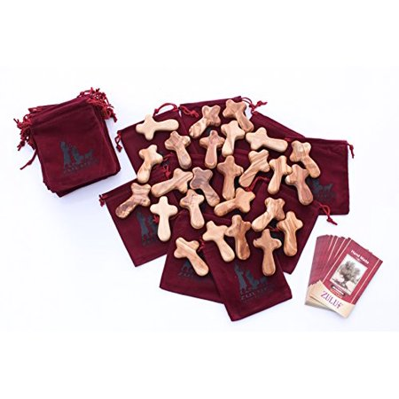 25 Bethlehem Olive Wood Crosses Gift Package - CRS121 Zuluf - Bethlehem Georgia