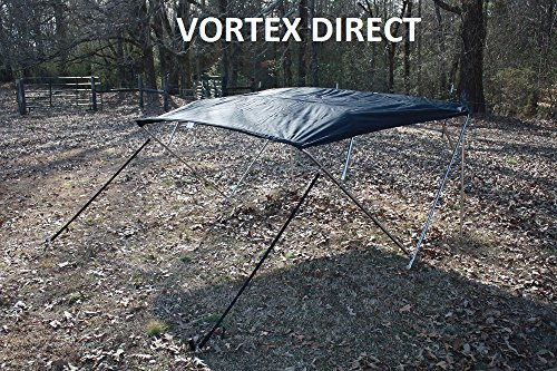 "BLACK (ACRYLIC) VORTEX STAINLESS STEEL FRAME 4 BOW PONTOON DECK BOAT BIMINI TOP 10' LONG, 91-96"" WIDE (FAST... by VORTEX DIRECT"