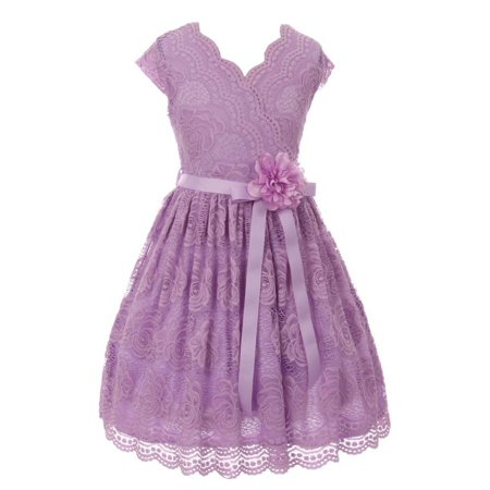 Girls Lilac Flower Border Stretch Lace Stylish Special Occasion Dress - Special Occasion Girls Dresses