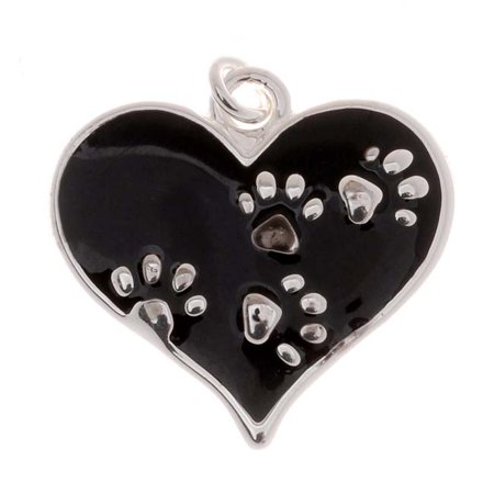 silver plated black enamel animal lover 2-sided heart paw print charm 20mm (1) (Heart Flag Enamel Charm)