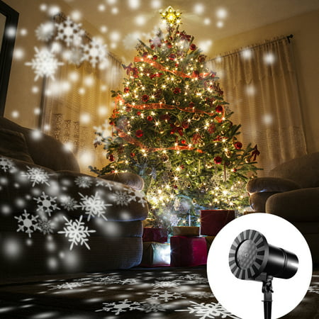 2018 Christmas Landscape Lights Projector, Christmas Light Moving White Snowflake Spotlight LED Light for Holiday Christmas Tree Garden Patio Stage Decoration , 3D Simulation effect like really (Best Christmas Light Projector)