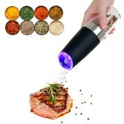 Jeobest 1PC Salt and Pepper Grinder - Automatic Pepper Mill Grinder - Electric Salt and Pepper Grinder Bottle with LED Light Automatic Operation Kitchen Seasoning Grind Tool Automatic Mills MZ