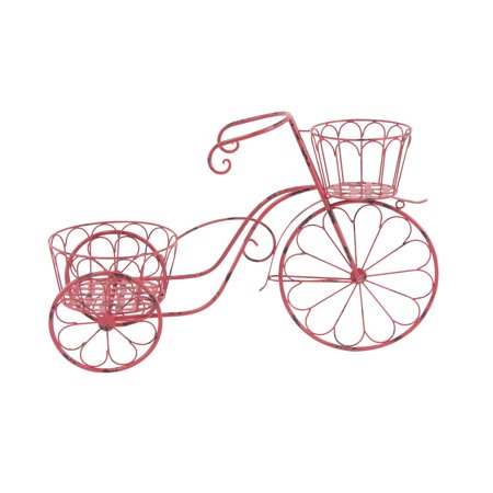 Decmode Rustic 19 X 31 Inch Pink Iron Bicycle Planter ()