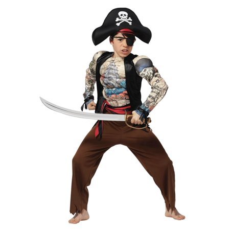 Boys Tattooed Pirate Muscle Costume Halloween Jumpsuit Hat & Eyepatch