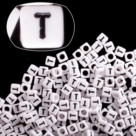 Letter T White Acrylic Cube Alphabet Beads 6mm