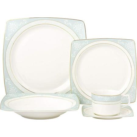 Royalty Porcelain Fancy Square Design 5-pc Place Setting 'Tiffany Blue', Premium Bone China Porcelain Rare Chinese Blue White Porcelain
