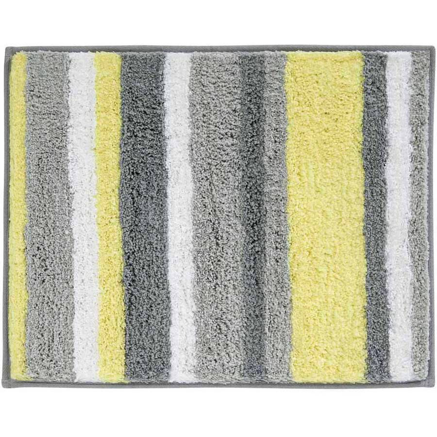 "InterDesign Microfiber Stripes Bathroom Shower Rug, 21""x 17"