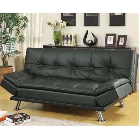 Bowery Hill Contemporary Convertible Sofa in Black