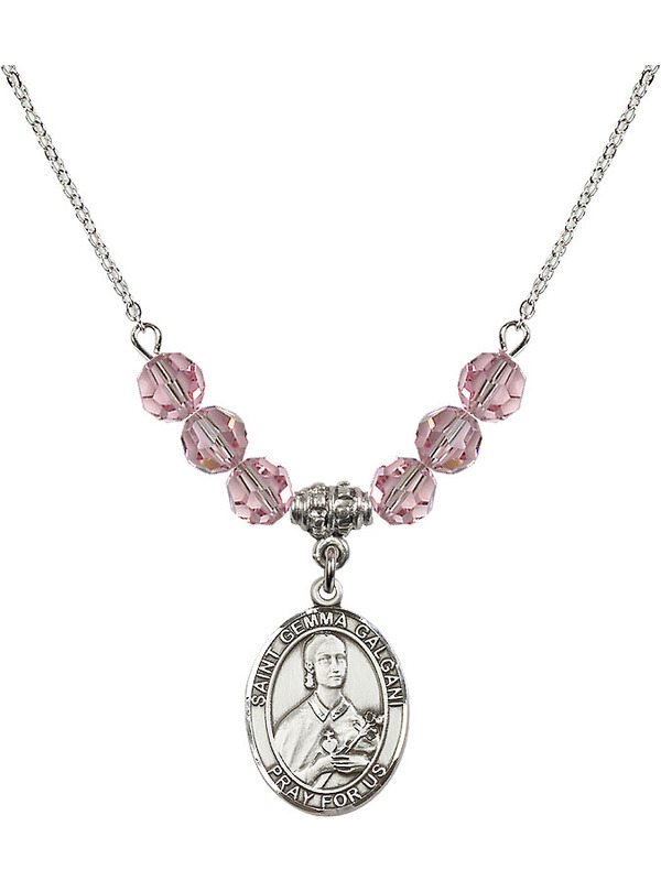 Bonyak Jewelry 18 Inch Rhodium Plated Necklace w// 6mm Light Rose Pink October Birth Month Stone Beads and Wedding Rings Cross Charm