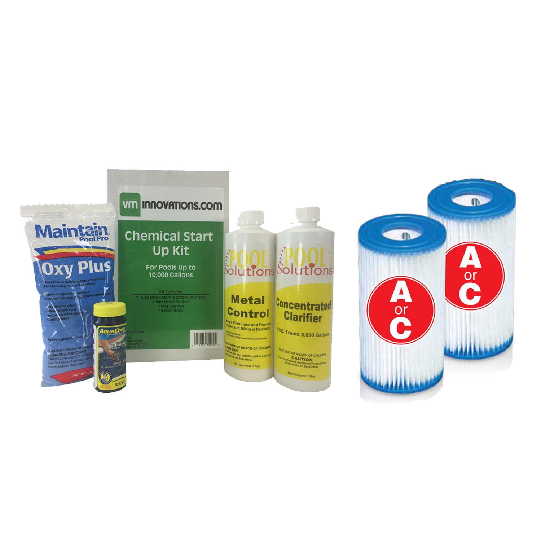 Swimming Pool Start-up Chemical Kit w/ Intex Pool Set Type A/C Filter Cartridges