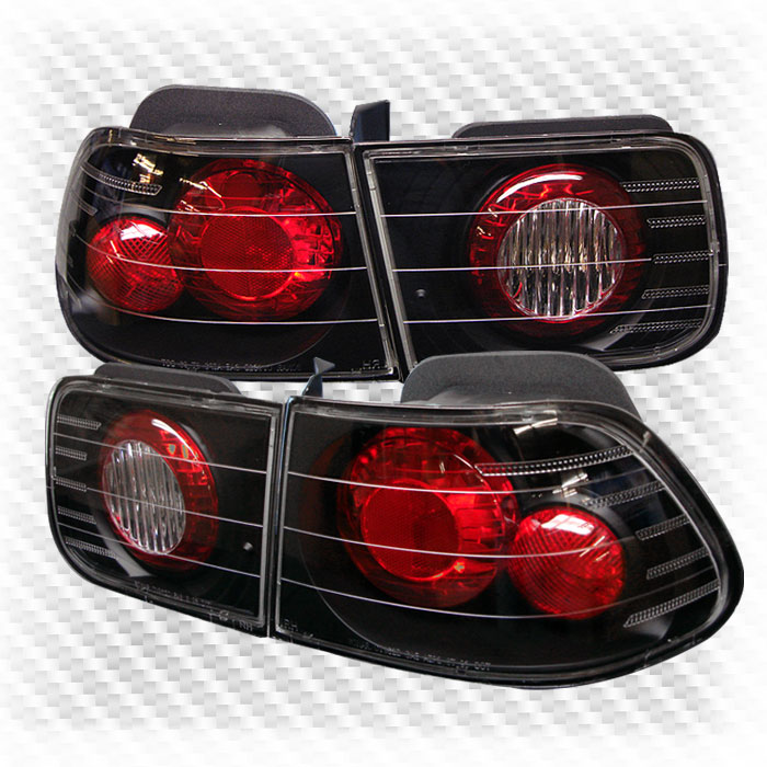 For 1996-2000 Honda Civic 2 Door Black Altezza Tail Lights Rear Brake Lamps  Pair Left+Right 1997 1998 1999