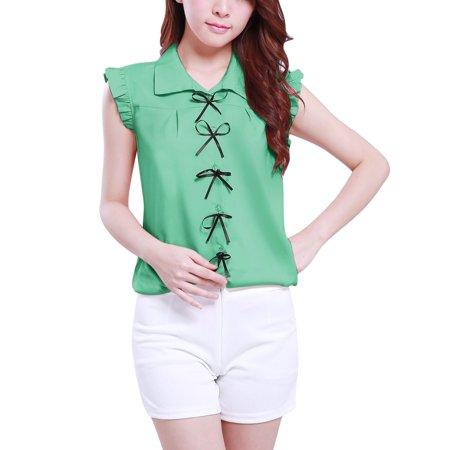2006  Bowknot Decor Front Ruffled Hem Sleeveless Blouse for (Decor Sleeveless)