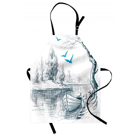 Landscape Apron Boat on Calm River Trees Birds Twigs Sketch Drawing Clipart Water Minimalist, Unisex Kitchen Bib Apron with Adjustable Neck for Cooking Baking Gardening, White Gray Blue, by - Free Kitchen Clipart