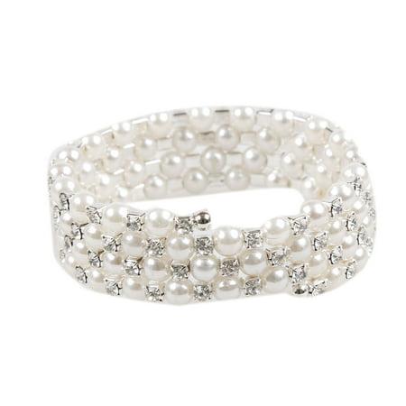 - Fancyleo 3-Row 4-Row Wraparound Coil Simulated Pearl Crystal Rhinestone Bridal Fashion Bracelet