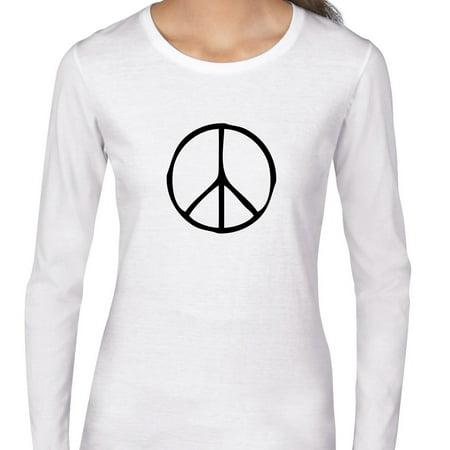 Peace Symbol Black Handwriting Womens Long Sleeve T Shirt