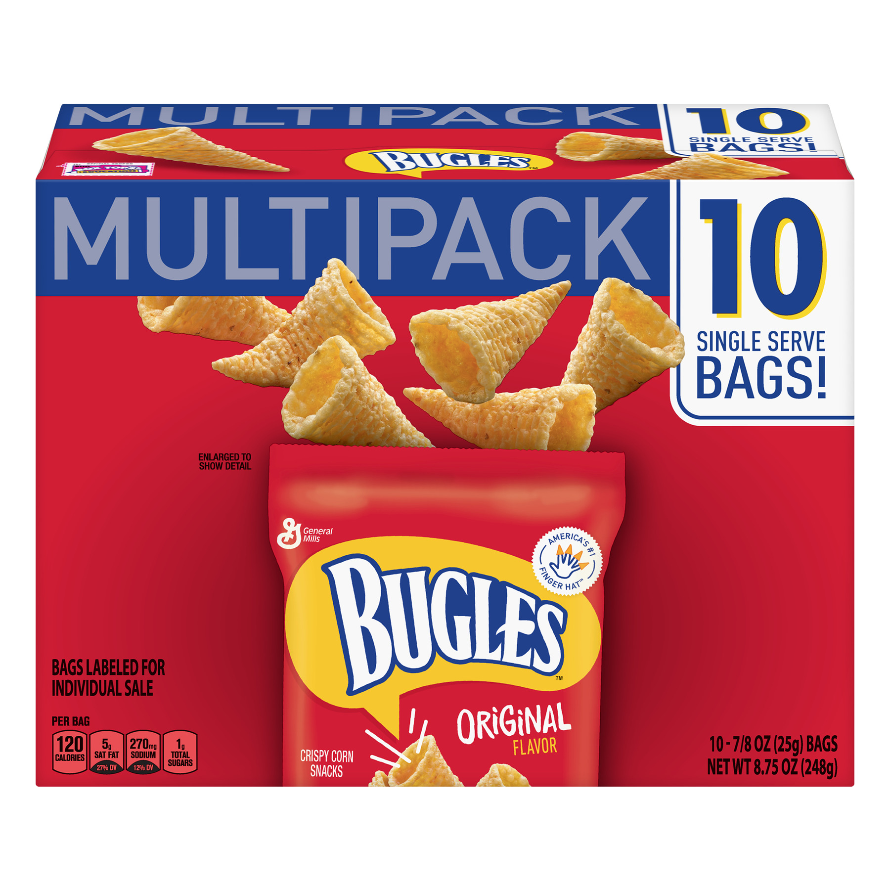 Bugles Original Crispy Corn Snacks 10 Bag Mulitpack, 8.75 oz