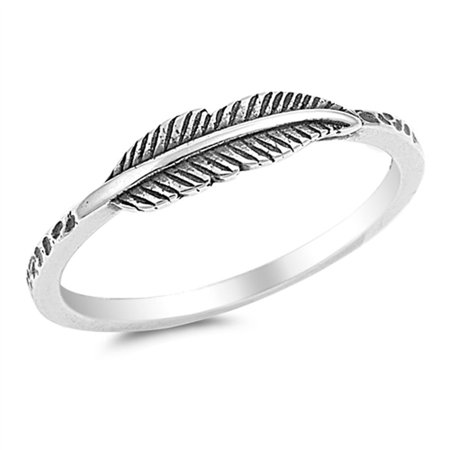 Leaf Ring (Oxidized Leaf Fashion Feather Ring New .925 Sterling Silver Band Rings by Sac Silver (Size 9) )