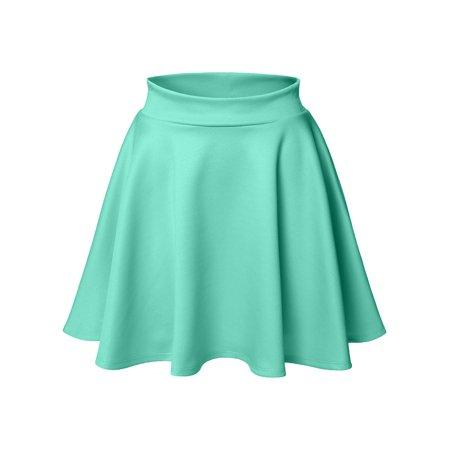 89f9640bc3 Luna Flower - Luna Flower Women's Basic Versatile Stretchy Flared Skater  Skirt LIGHT_GREEN X-Large (LFWSK0009) - Walmart.com
