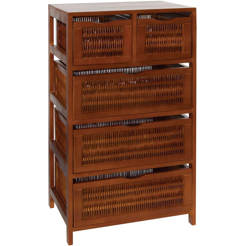 Neu Home Willow and Wood 5-Drawer Storage Unit