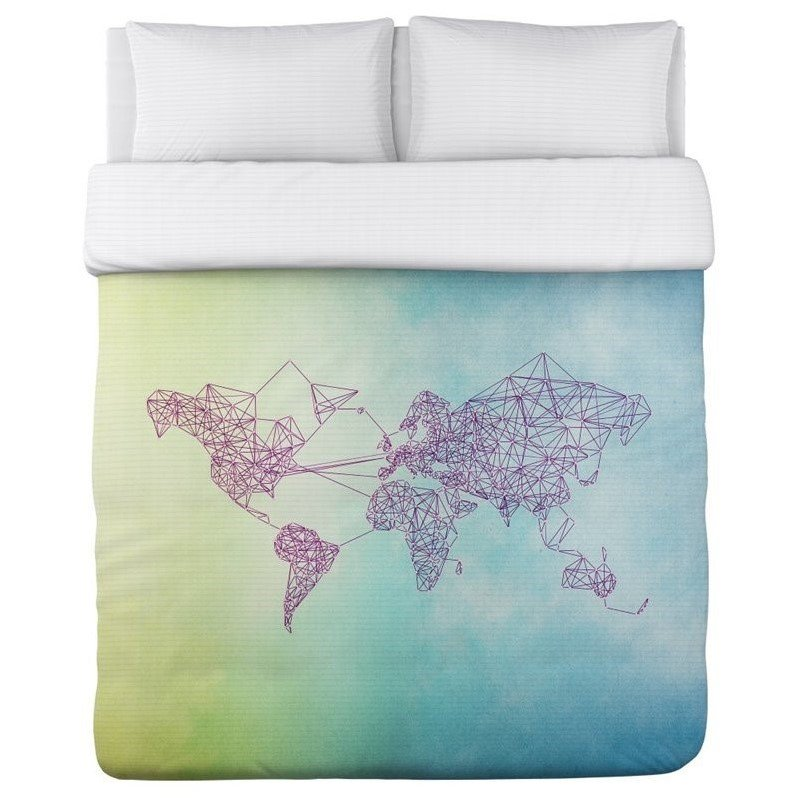 One Bella Casa Twin Polyester Duvet in Green Blue and Purple