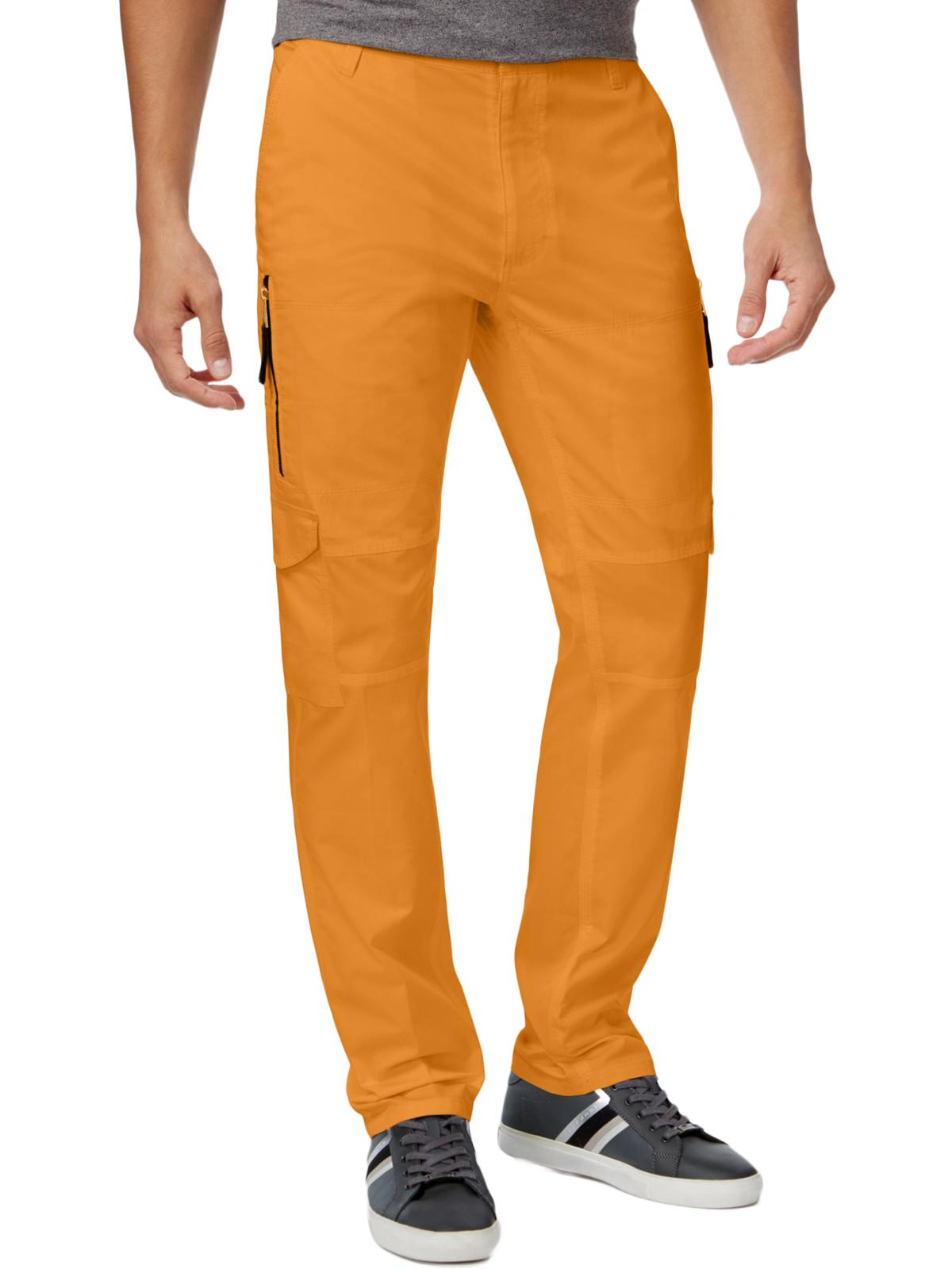 Sean John Mens Flat Front Contrast Trim Cargo Pants Yellow 42