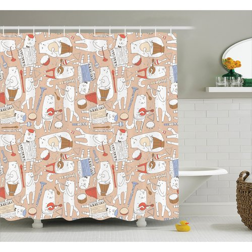 Ebern Designs Lizzie Cartoon Musician Cute Cat With Drum Accordion Tube Guitar Shower Curtain