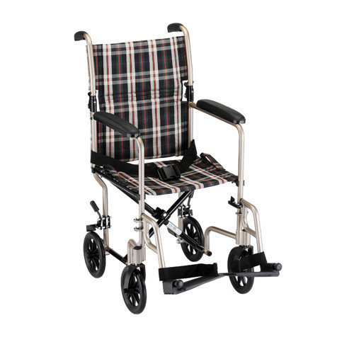 Nova Ortho-Med, Inc. GO! Mobility 18.5'' Ultra Lightweight Bariatric Transport Wheelchair with Plaid Upholstery