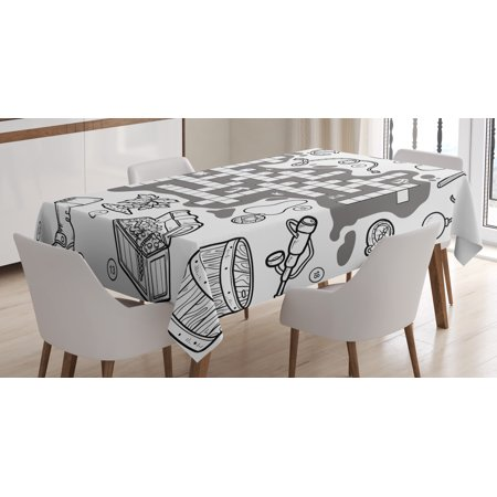 Word Search Puzzle Tablecloth, Colorless Pirates Themed Educational Puzzle Treasure Map and Icons, Rectangular Table Cover for Dining Room Kitchen, 52 X 70 Inches, Grey Black White, by - Treasure Map Tablecloth