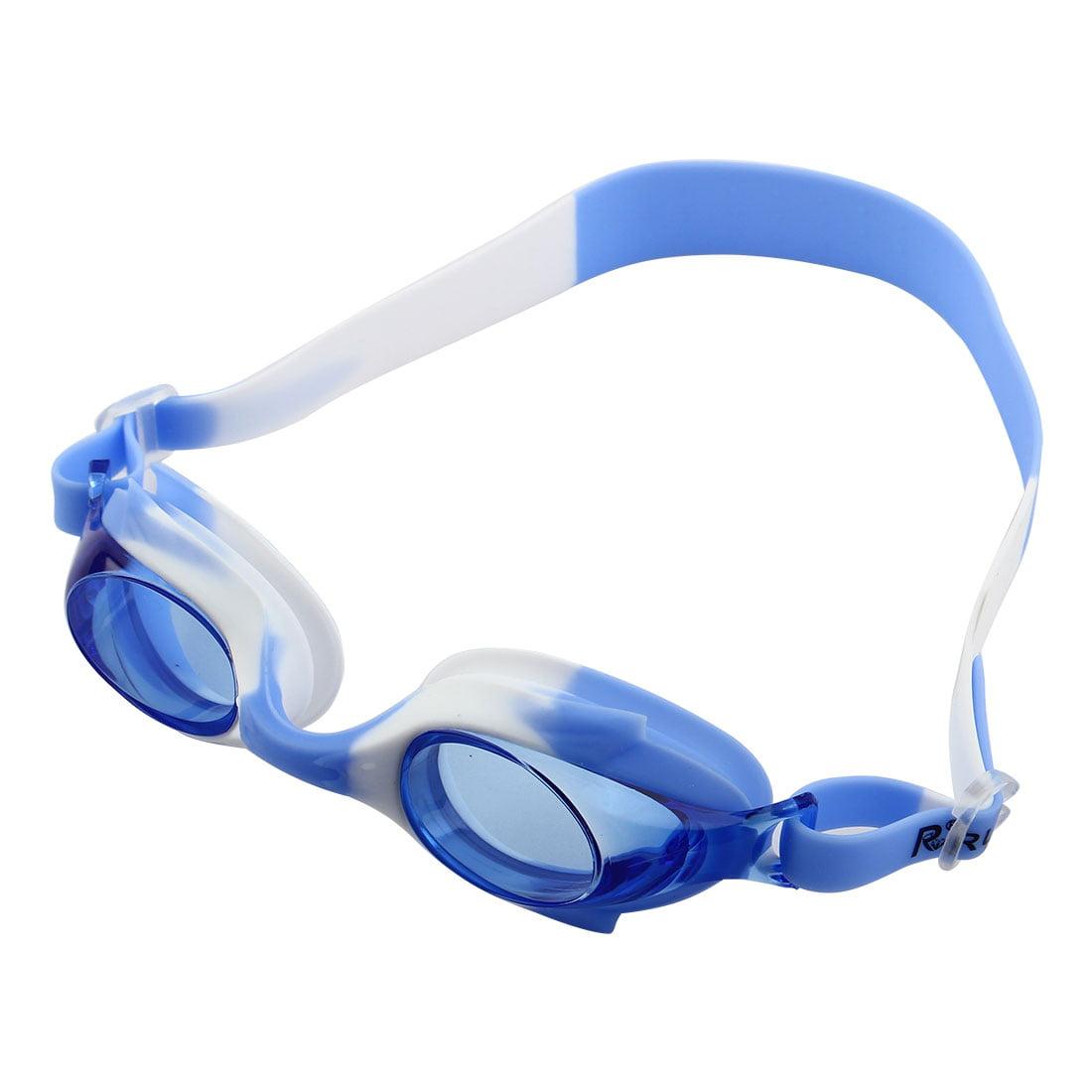 Silicone Belt Clear Vision Anti Fog Swim Goggles Glasses Blue White for Children by Unique-Bargains