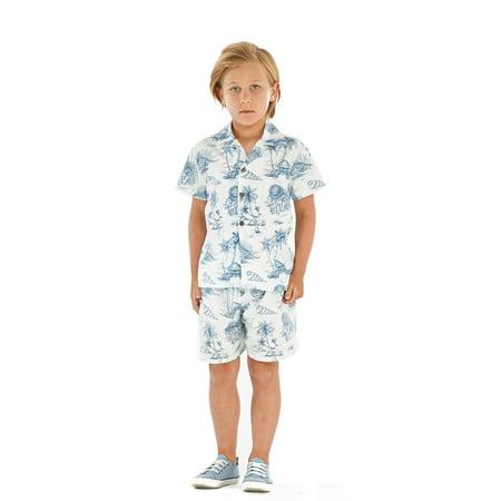 Hawaii Hangover Boy Aloha Luau Shirt Cabana Set in Vintage Tropical Toile 4 Year Old - Vintage Luau