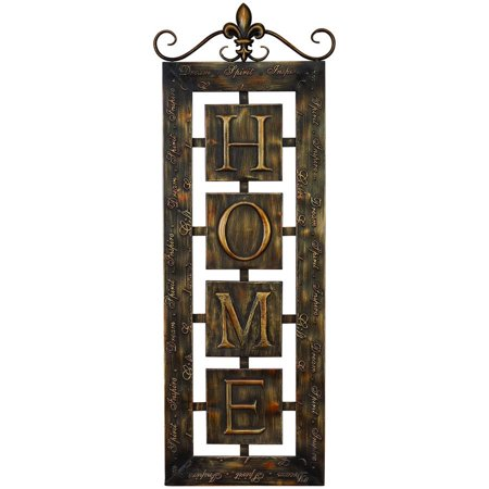 Metal wall plaque 39 home 39 an intimate wall decor - Plaque murale decorative metal ...