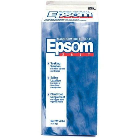 Epsom Magnesium Sulfate Laxative & Soaking Solution Salt Carton, 4 Lb