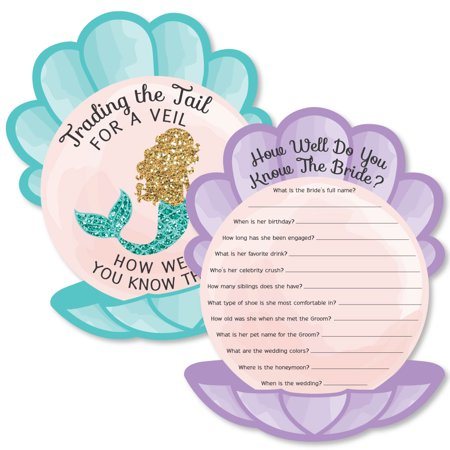 Trading The Tail For A Veil - Mermaid Bachelorette or Bridal Shower Game - How Well Do You Know The Bride Game - 20 Ct