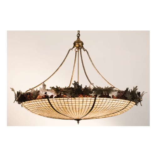 Meyda Tiffany 74006 Six Light Bowl Pendant from the Acorn & Oak Leaves Collectio