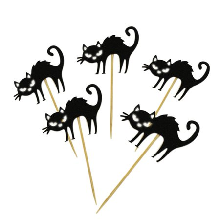 5pcs Halloween Little Black Cat Cake Toppers Halloween Cupcakes Flags