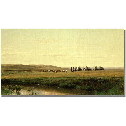 "Trademark Fine Art ""A Wagon Train on the Plain"" Canvas Art by Thomas Ehittredge"