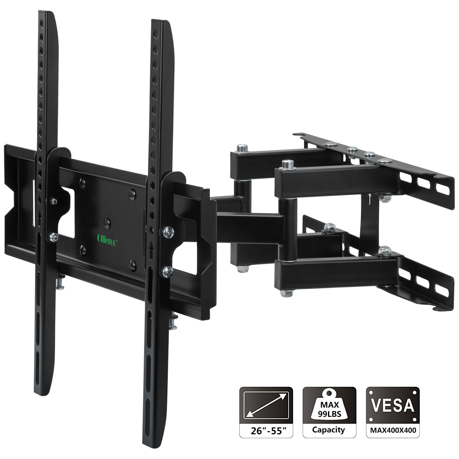 Allieroo Full Motion Articulating TV Wall Mount for Most 26-55 Inch TV up to VESA 400x400mm and 99 LBS
