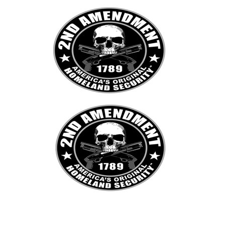"2 x 2nd AMENDMENT - Small, Bikers Motorcycle Helmet, Licensed Original Artwork, Quality - (Pair) 3"" STICKER DECAL"