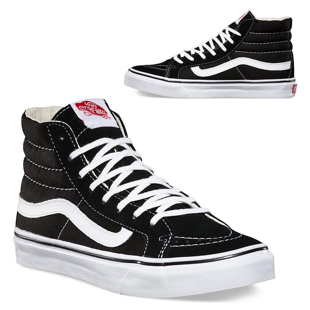 15058f28c5 Vans - Vans Old Skool Sk8-Hi Slim Black White Canvas Classics Skate Shoe  Unisex Sneakers Hi top Men 4 - Walmart.com