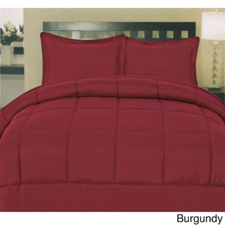 Plush solid color box stitch down alternative comforter burgundy king for Home design down alternative color king comforter