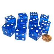 Koplow Games Set of 10 D6 Square Edged 19mm Dice - Transparent Blue with White Pips #02106