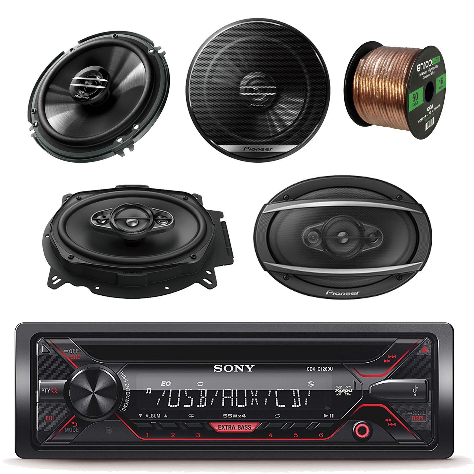 "Sony Xplod CDX-G1200U Cd Receiver with 52x4W Amp With Pioneer 6.5"" 2 Way Speakers (Pair), Pioneer TSA6960F 6x9 Inch 420W 3-Way Car Coaxial Speaker (Pair) & Enrock Audio 16-Gauge 50 Ft Speaker Wire"