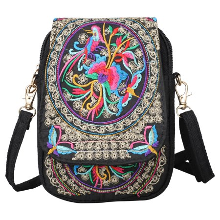 EEEKit Crossbody Purses and Handbags, Women Retro Embroidery Printed Handmade Mini Crossbody Bag Cellphone Pouch Small Handbag Coin Purse