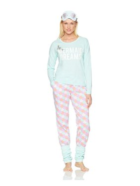 Product Image Disney Women s Ariel Long Sleeve Pajama 2 Piece Set with Eye  Mask d34770b66