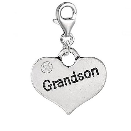 Clear Crystal Heart Charm (Heart 2 Sided w/ Clear  Crystal Stones Grandson Charm Clip On Pendant w/ Lobster Clasp)